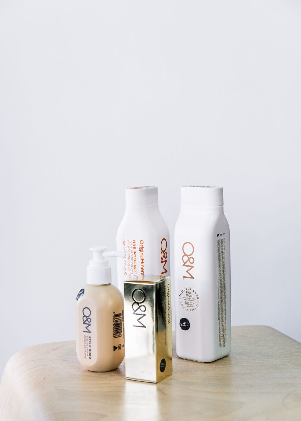 Table with bottles of hair product